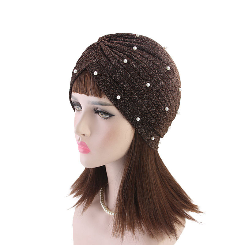 Women Glitter Turban Hat Muslim Hijab Gold Shiny Pearls Beaded Head Wrap Winter Indian Cap Soft Solid Color Chemo Cap Hot Sale