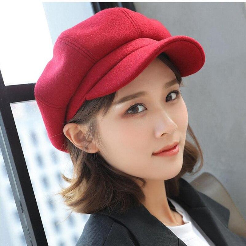 Sombrero de boina estilo británico para mujer, gorro de pintor, retro, color sólido, octogonal, grueso, cálido, visera, otoño