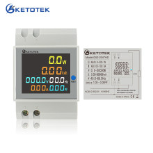 Ketotek Din Rail Wattmeter LCD Single-phase 110V 220 100A AC Voltmeter Voltage Current Power Factor Energy Meter Amp Monitor