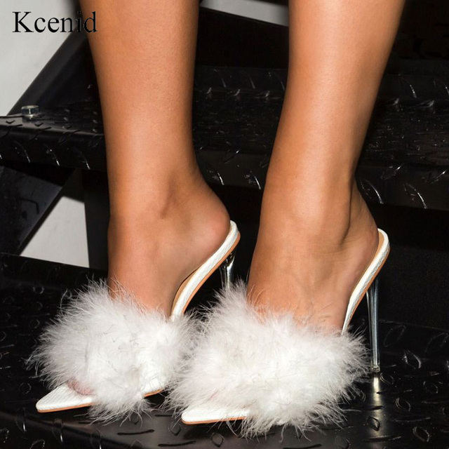 Kcenid 2020 חדש PVC נעלי אישה נוצת שקוף עקבים גבוהים פרווה נעלי נשים ציוץ הבוהן פרדות ליידי משאבות נעלי שקופיות לבן