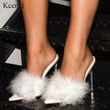 Kcenid zapatos de PVC con punta abierta para mujer, zapatillas femeninas de tacón alto transparente con plumas, en color blanco, 2020