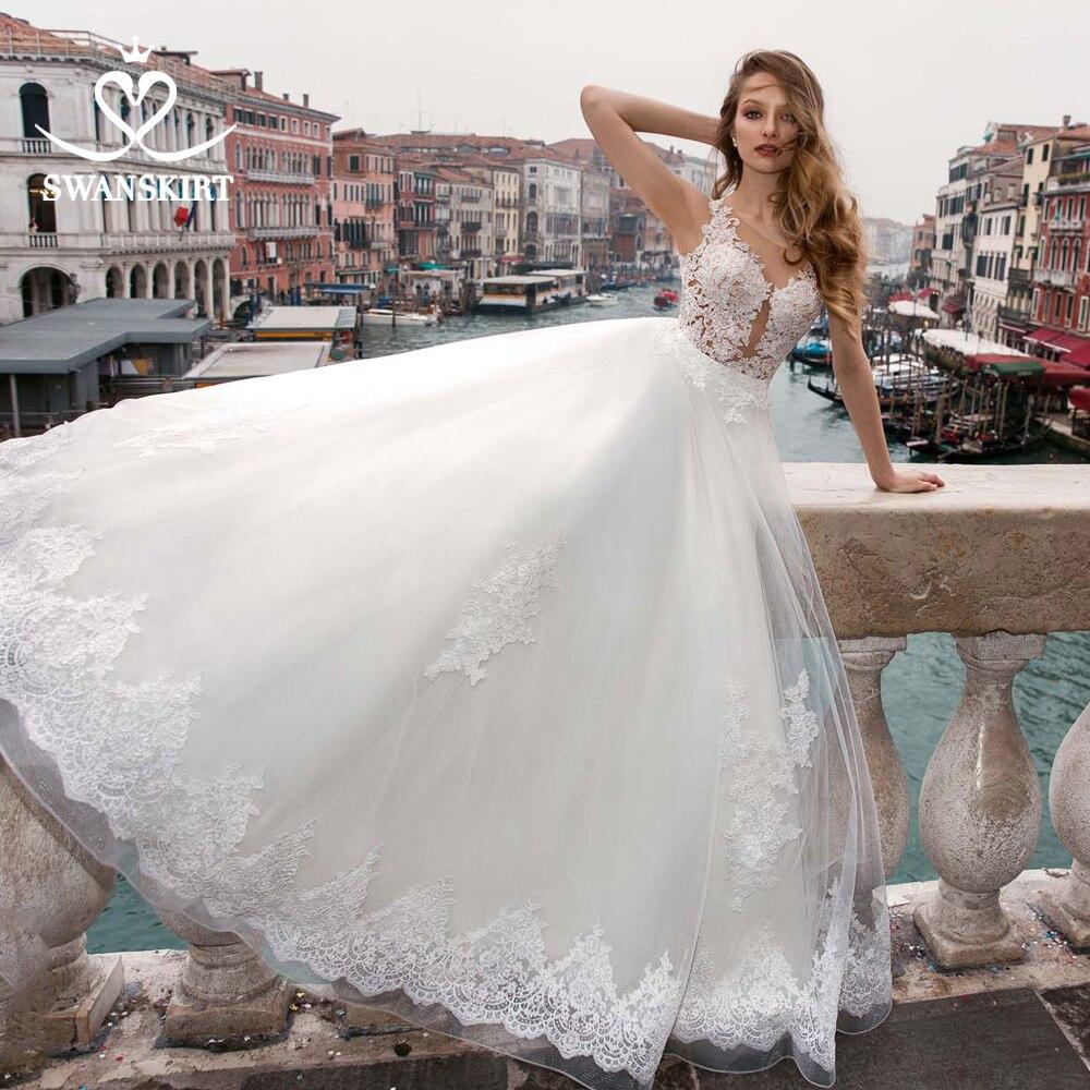 Swanskirt Boho Scoop Sleeveless Bridal Gown Wedding Dress 2019 Appliques Lace Ball Gown Princess Customized Robe De Mariee BZ19
