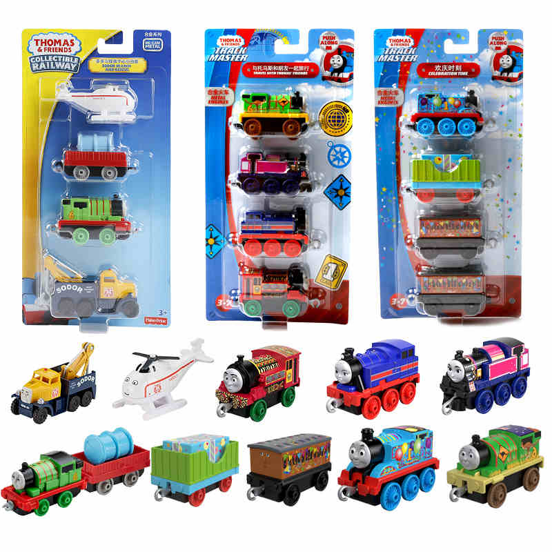 4 Trains/ Pack Original Thomas And Friends Trains Diecast Alloy Model Car Toys For Children  Brinquedos  Kids Toys