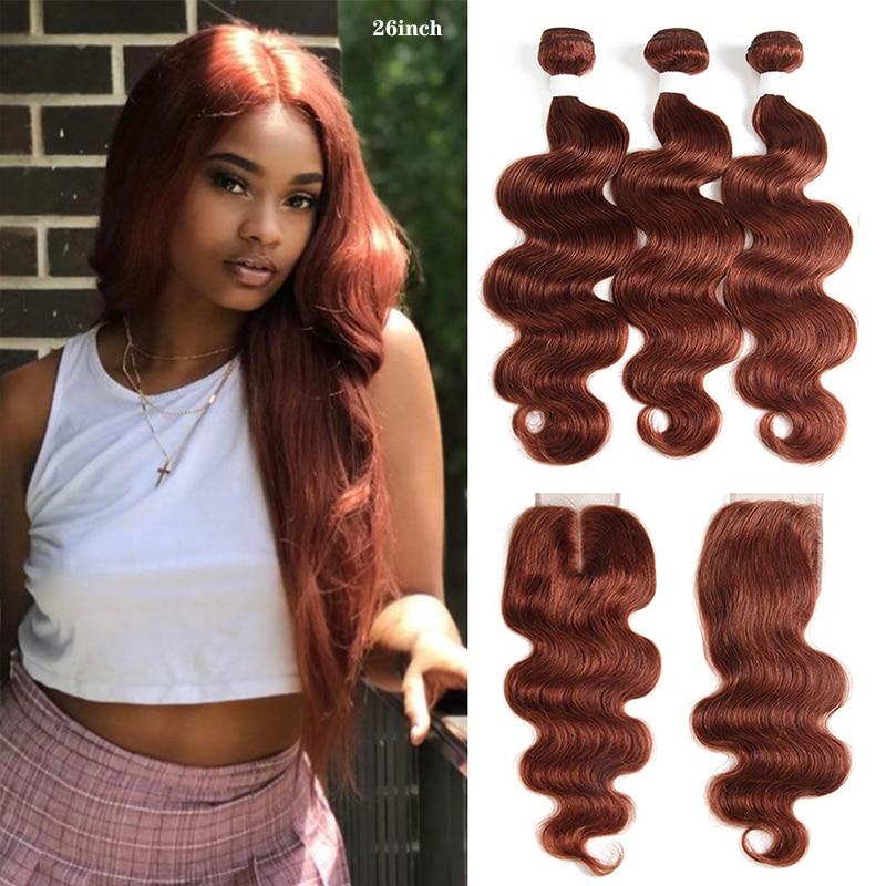 Brown Auburn Human Hair Bundles With Closure 4x4 KEMY HAIR 3 PCS Brazilian Body Wave Human Hair Weave Bundles Non-Remy Hair
