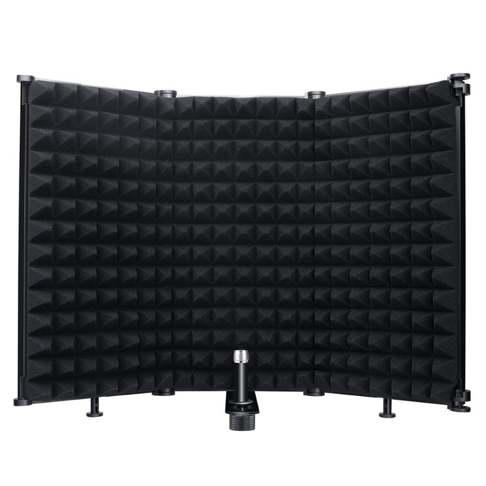 Микрофон изоляции щит 3-Панель ветер Экран Складная фильтр с 3/8