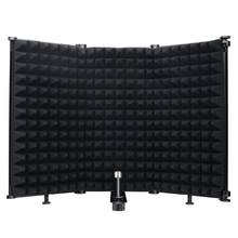 Microfone isolamento escudo 3-painel filtro de tela de vento dobrável com 3/8