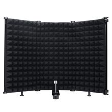 Microphone Isolation Shield 3-Panel Wind Screen Filter Foldable with 3/8