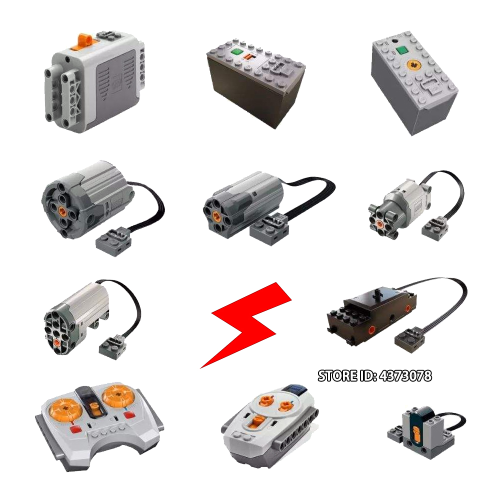Blocks Technical Power Functions Train Motor Polarity Switch IR Speed Remote Control Receiver <font><b>Battery</b></font> Box Technic Creator Toys image
