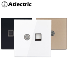 Atlectric Internet/RJ11/RJ45/TV Socket TV And Internet Coaxial Socket Tempered Glass Panel Socket Phone/Telephone Wall Outlet