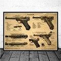 Плакат и принты Luger, патент на пистолет, схема пистолета, современная живопись, художественная живопись, настенные картины для гостиной, дом...
