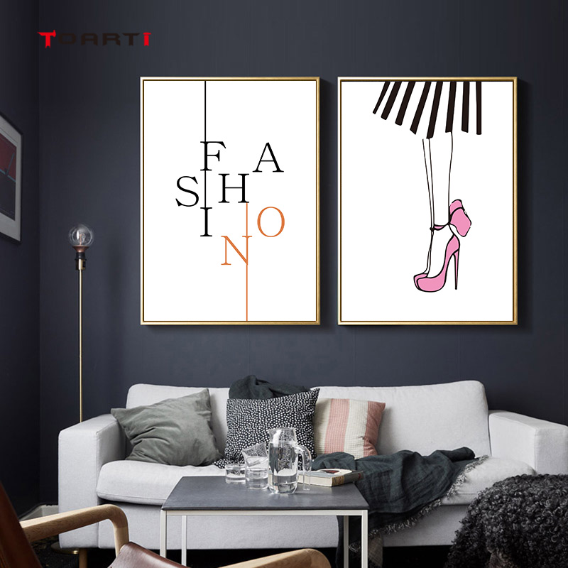 Fashion Lady Girl Prints Poster High heel  Lip Canvas Painting On The Wall For Living Room Bedroom Home Decor Modern Art Picture (2)