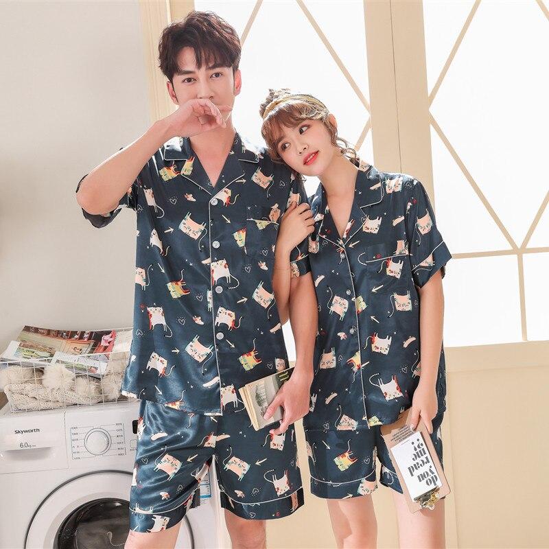 FZSLCYIYI Printed Couple Pajamas Set Satin Sexy Sleep Set Short Sleeve Shorts Pyjamas Suit Summer Thin Nightwear Sleepwear