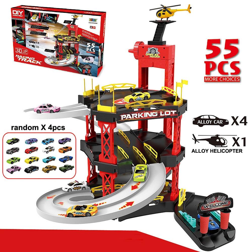 55PCS DIY Assemble 3D Slide Track Set Multi Layer Parking Lot Model  Alloy Car Helicopter Toy Set Gift For Children 3 4 5 Years