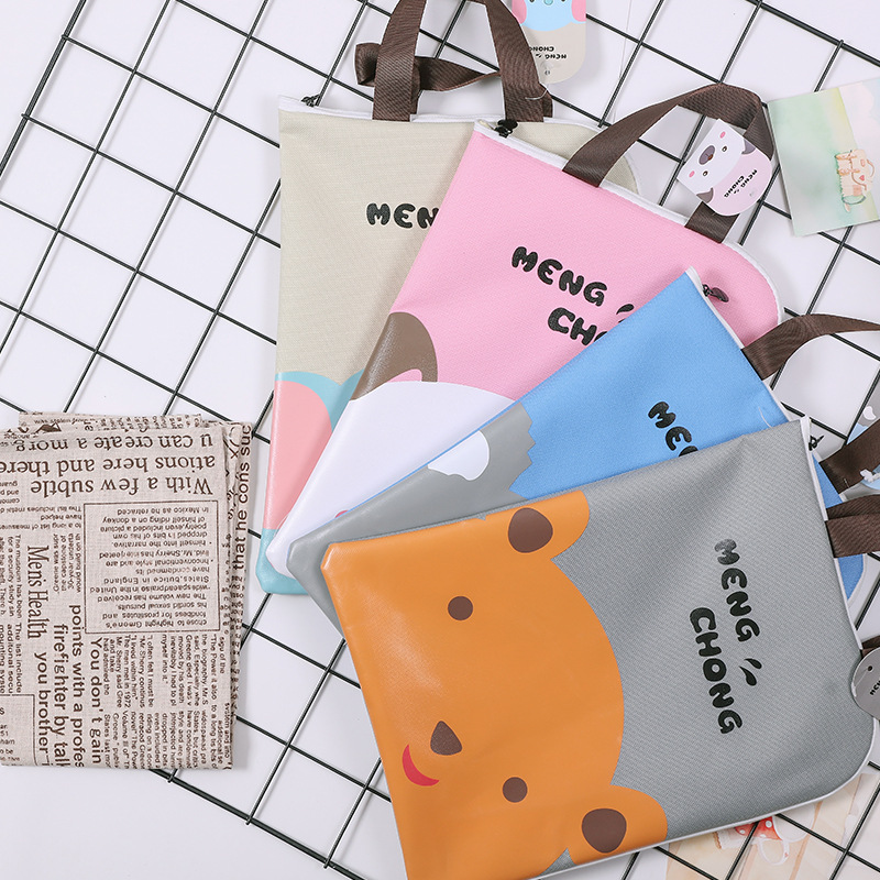 A4 Canvas Printed Remedial Bag Zipper Information File Bag Multi-layer Collection Test Paper Bag