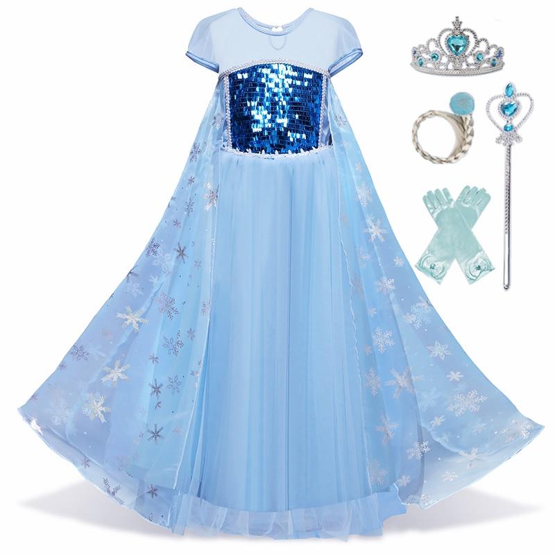 Golden Princess Dress Cosplay Girls Dress Crown Magic Stick Party Kids Dress For Girls Clothing Birthday Ball Gown 5