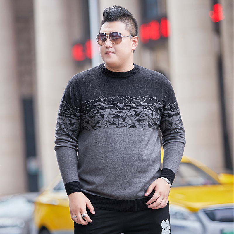 Large Size 4XL 5XL 6XL O- Neck Long Sleeve Men's Sweaters 7XL 8XL Plus Size Loose Black Printing Winter Warm Knitted Sweater