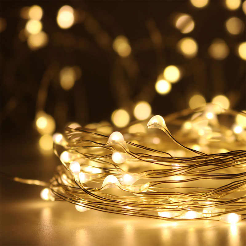 Led 구리 와이어 문자열 요정 빛 10 m 5 m 3 m 2 m 1 m 갈 랜드 홈 크리스마스 웨딩 파티 장식 배터리에 의해 구동 usb lr44 cr2032 새로운