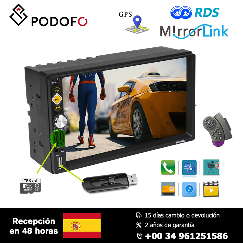 Podofo 7'' Car Multimedia Player boot screen logo Support Android/ Iphone Mirror Link Microphone GPS FM AM RDS 2 din Radio