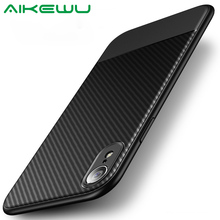 AiKewu for iPhone XS Max Case Cover Luxury Carbon Fiber Silicone Shockproof X XR