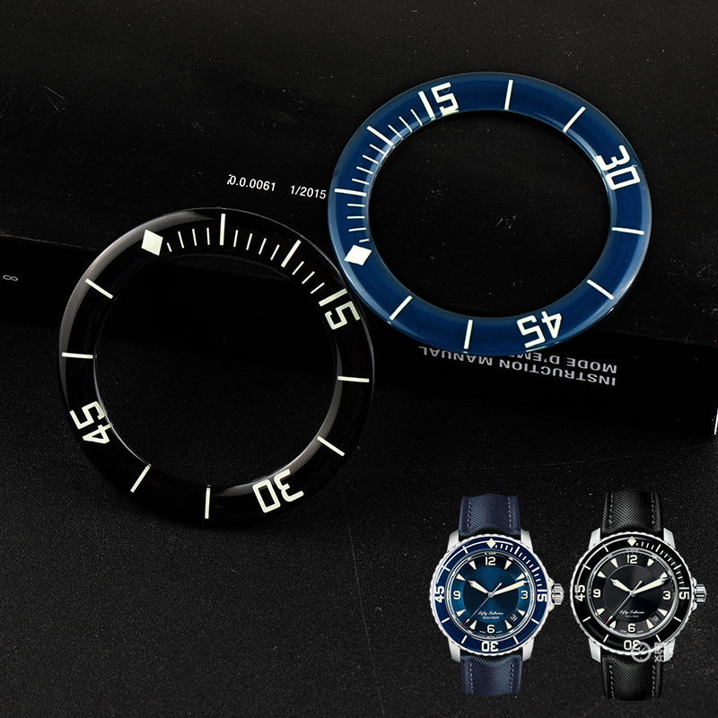 Black Blue Luminous Glass Coating Bezel Insert For Blancpain Fifty Fathoms 45mm Dial Man Watch Face Watches Replace Accessories