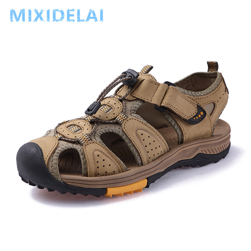 2020 Big Size Summer Genuine Leather Outdoor Men's Shoes Men Sandals For Male Casual Shoes Water Walking Beach Sandalias Sandal|Men's Sandals| |  - title=