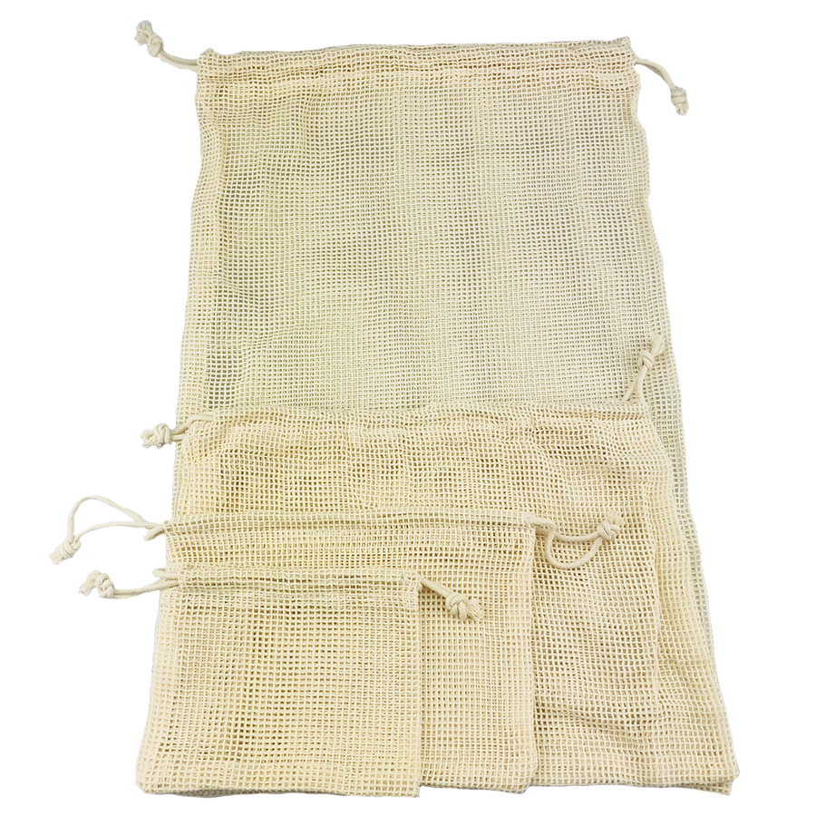 Premium High Quality Organic Cotton Mesh Produce Net Bags Fruits Vegetable Food Storage Reusable Reuse Shopping Bag Set Pack