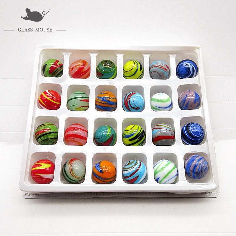 16mm Handmade murano glass balls 24Pcs colorful Creative art collection Marbles Puzzle nuggets Game Toys for children Kids boy