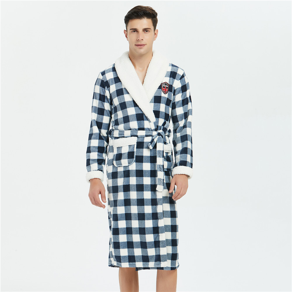 Men Kimono Bathrobe Gown Coral Fleece Home Clothing Sleepwear Plaid Intimate Lingerie Clothes Winter V-neck Thicken Negligee