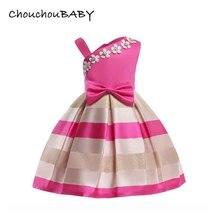 ChouchouBABY asymmetrical collar appliques bow striped ribbon princess dress baby girls dresses children costume kids clothing недорого