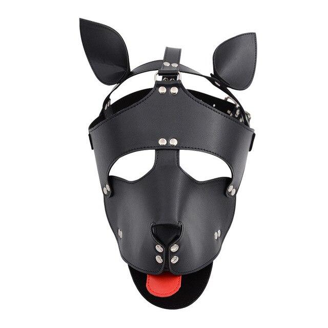 Black Red Leather Dog Bdsm Mask Bondage Restraints Cosplay Mask Costume erotic SM Slave Head Cover Harness Fetish kinky Sex Toys 1