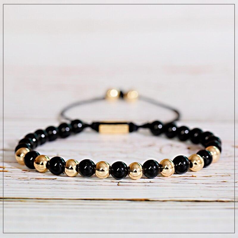 Новый мужской и женский браслет 6 мм с бусинами, медным шармом и камнем, регулируемый браслет, модные ювелирные изделия в подарок