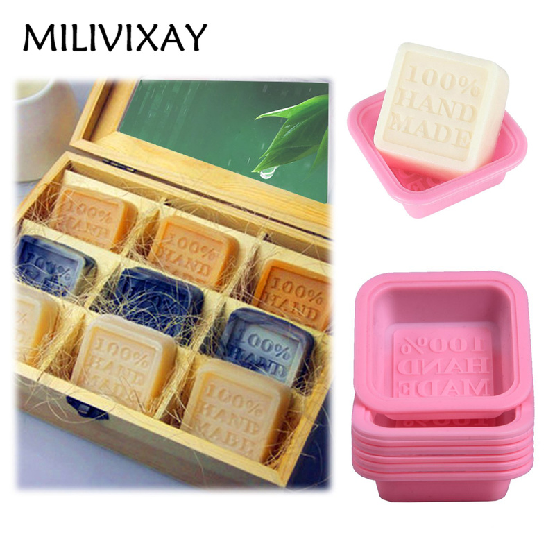 MILIVIXAY 5Pcs 100% Handmade Curved Craft Soap Making Forms Square Shaped Silicone DIY Soap Mold