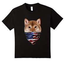 T Shirt Shiba Inu chien W patriotique amérique Bandana drapeau Usa(China)