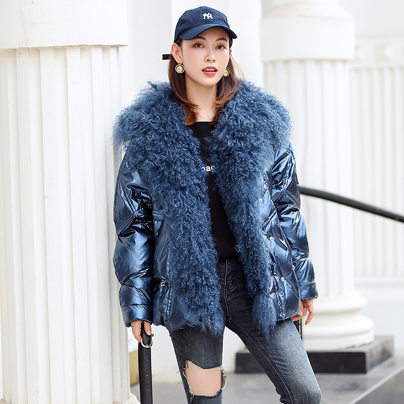 winte natural Beach wool fur collar   down   jacket female explosion models thick Korean bright oversized duck   down     coat   F299