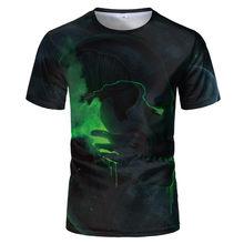 Camiseta con estampado 3D para hombre Camiseta con calavera de terror a la moda Camiseta de manga corta de verano 2021