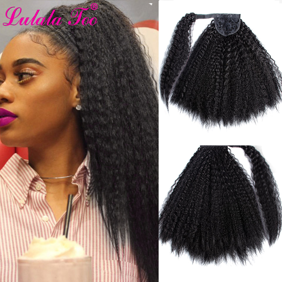Long Afro Kinky Curly Ponytail Wig 18inch Synthetic Corn Natural Hair Piece For Women Black Clip In Hair Extensions