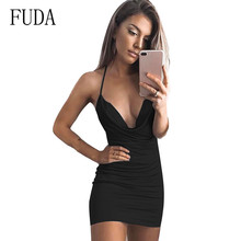 FUDA New Strap Sexy Backless Womens Dress Elegant Deep V-neck Hollow Out Sleeveless Black Night Party Short Longue