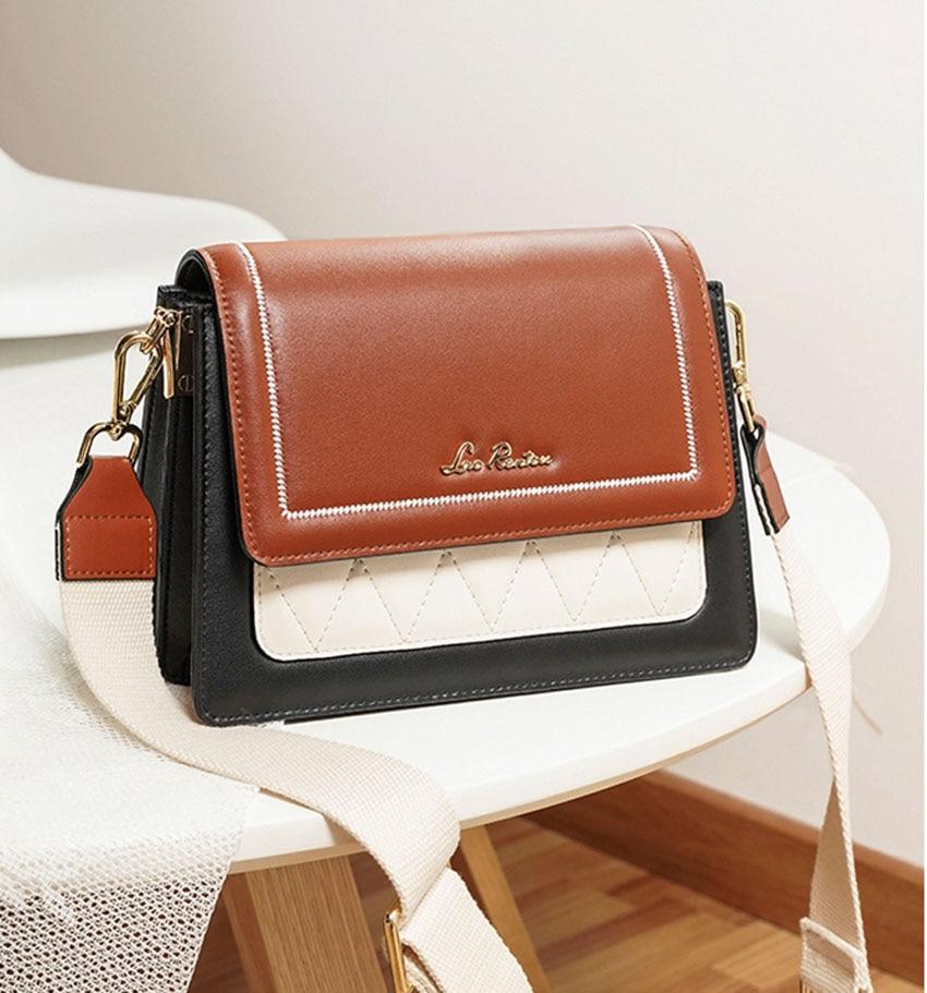 LAORENTOU women leather bag  2020 new fashion contrast color crossbody bag Wild single shoulder bag Small fresh messenger bag 11