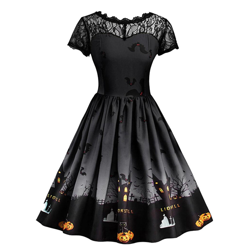 halloween dress women pumpkin dresses womens vintage print o-neck black 2019 fall gothic party night