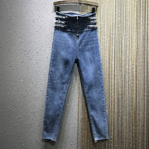 High Waist Jeans Woman Rhinestone Beaded Jeans Women's 2020 Spring New European Style Stretch Slim-Fit Skinny Pencil Pants Jeans