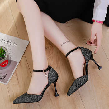 Fashion Buckle Crystal Bling Pumps Women Elegant Thin High Heel Point toe Party Wedding Shoes Woman Stiletto Sexy Bridal Sandals
