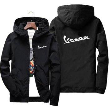 Summer 2020 Men's Bomber Jacket Thin Long Sleeve Vespa Printed Casual Jacket Hooded Windbreaker Zipper Jacket Brand Clothing