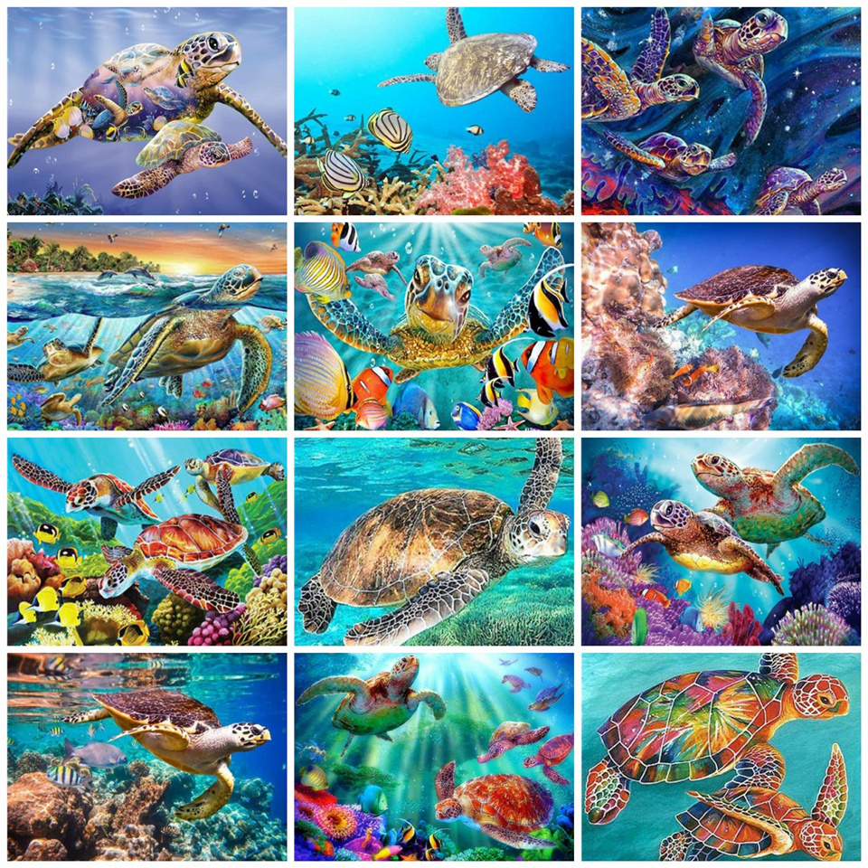 AZQSD Coloring By Numbers Animals Kit Pictures Oil Painting By Numbers Turtle Coloring By Numbers Art Figure Drawing 50x40cm