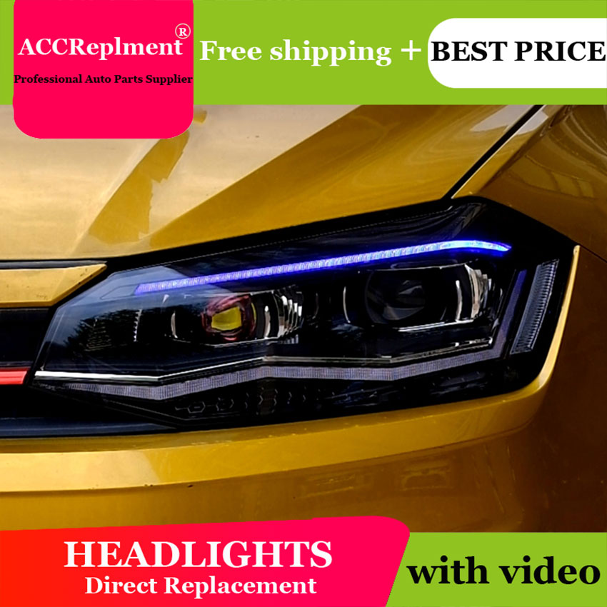 Car Styling <font><b>LED</b></font> Head Lamp for <font><b>VW</b></font> <font><b>POLO</b></font> <font><b>headlights</b></font> 2019 <font><b>led</b></font> <font><b>headlight</b></font> <font><b>led</b></font> drl <font><b>H7</b></font> hid Bi-Xenon Lens low beam image