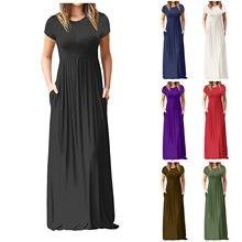 Frauen Kleid O Neck Casual Taschen Kurzarm Bodenlangen Kleid Lose Party Kleider Elegante Mode Sommerkleid Frau Kleid