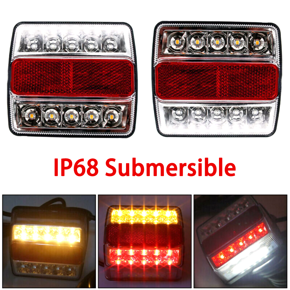 2Pcs Universal 12V 15 LED Rear Submersible Trailer Tail Lights Kit Boat Marker Truck Waterproof Campers Trailer Taillights