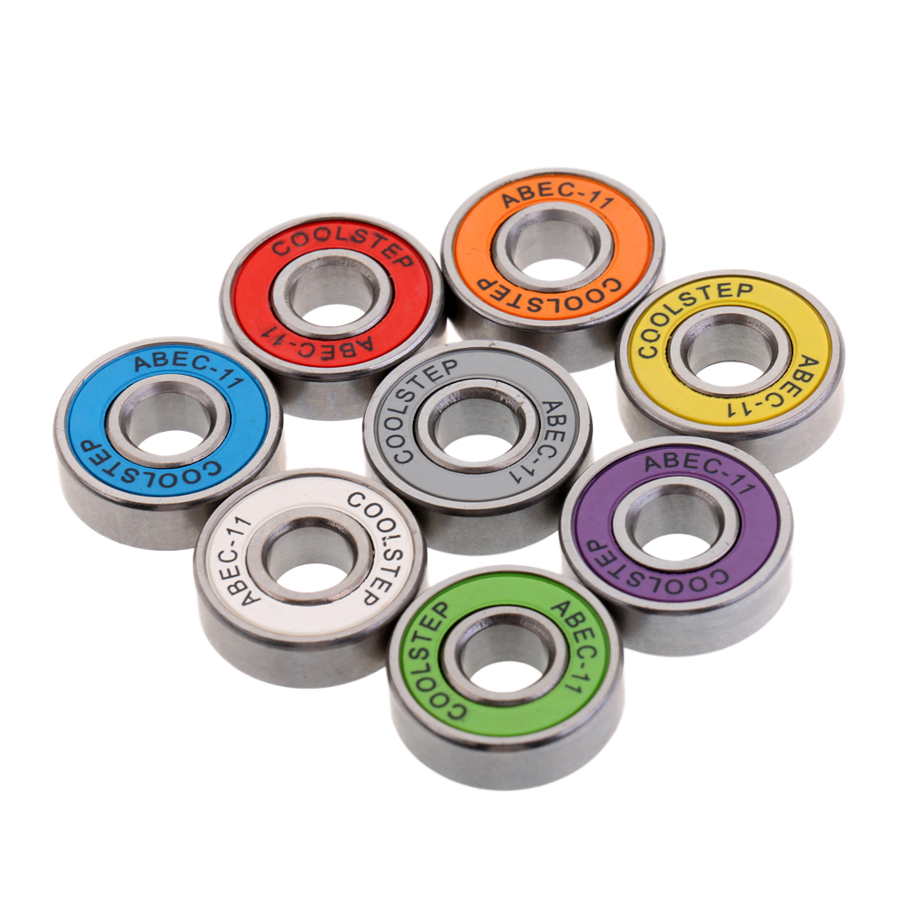 Pack Of 8 Skateboard Longboard Bearings Replacement Wear Resistant For Roller Skating Truck Wheels