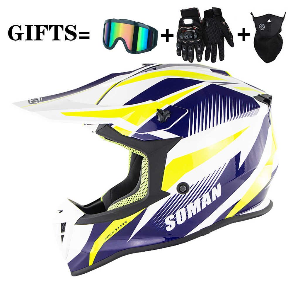 Helmet Casco da Corsa Mountain Dual Sport off Road Moto Casco da Motocross Casco Integrale Uomo e Donna Adulti