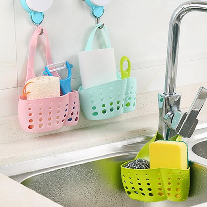 Kitchen Sponge Holder Draining Rack Sink Sponge Holder Bathroom Storage Shelf Sink Holder Drain Basket Drop Shipping figurine