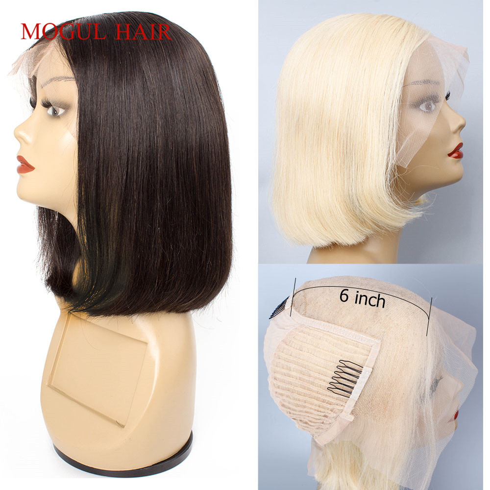 Mogul Hair 13x6 Lace Front Human Hair Wig Straight Pre-Plucked Short Bob Wig Natural Color 613 Blonde Brazilian Remy Hair